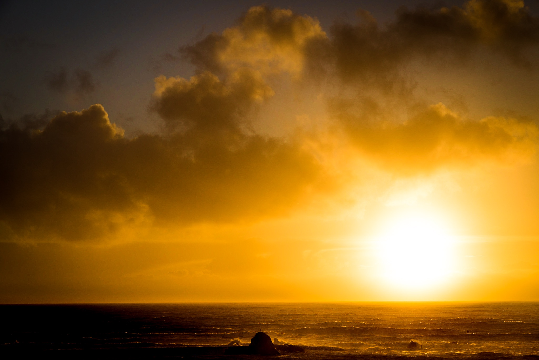 Sun setting over the sea by Rick McEvoy Cornwall Photographer