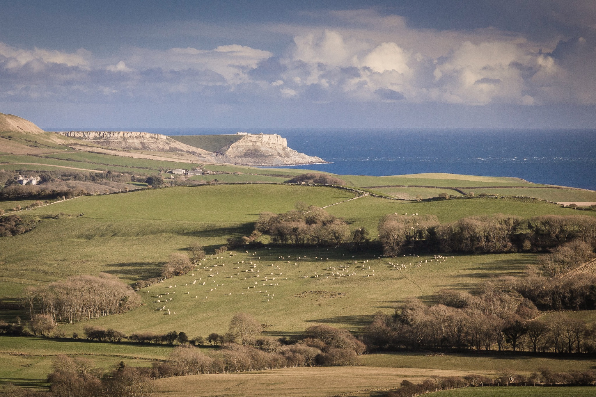 The view of the Purbecks and the cliffs beyond Kimmeridge Bay