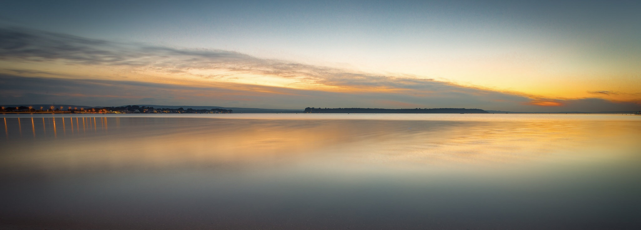 Panoramic sunset picture of Brownsea Island