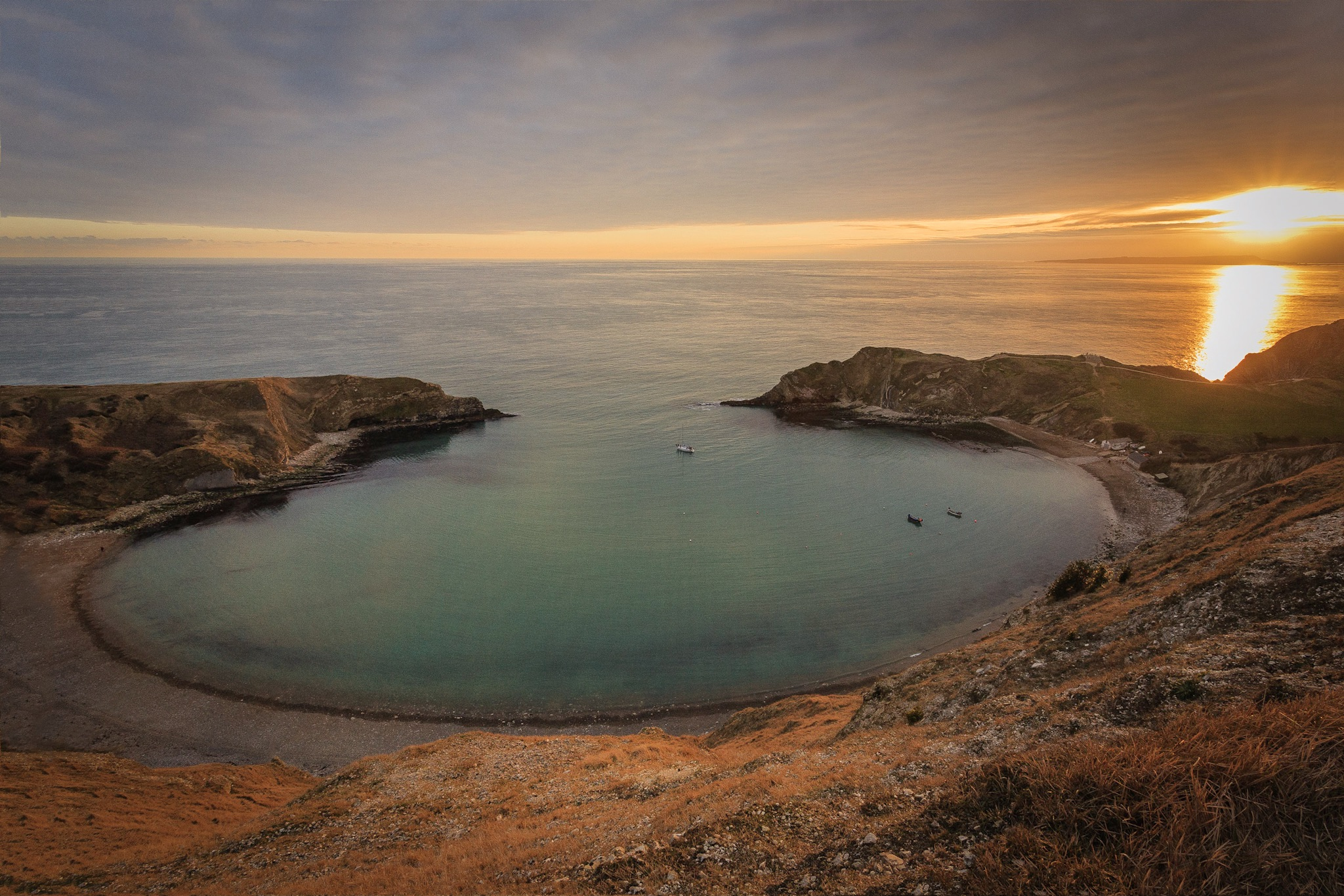 Lulworth Cove at sunset