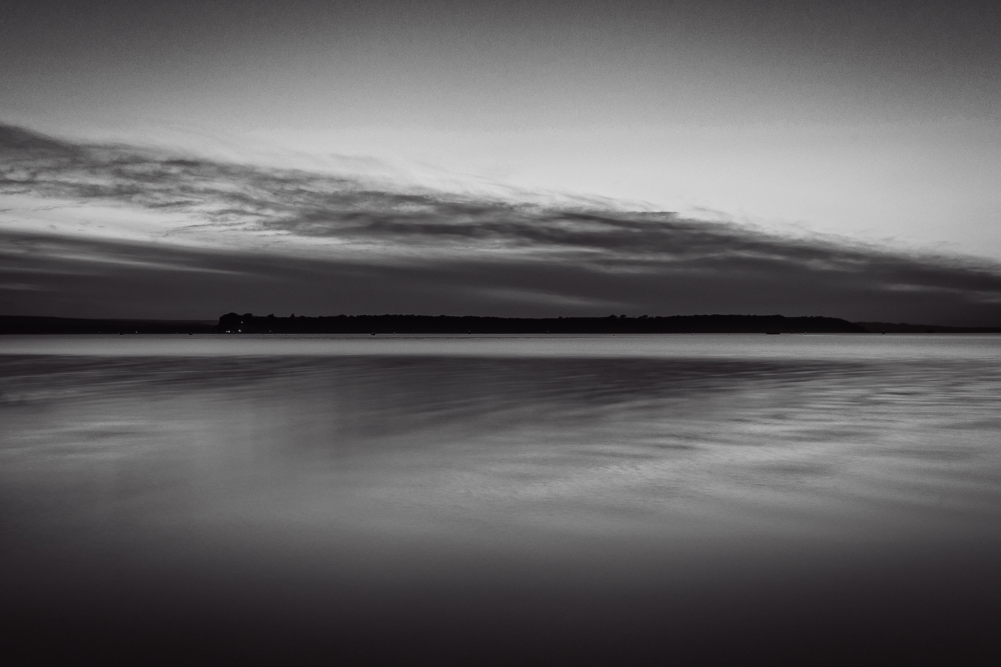 Picture of Brownsea Island at sunset in black and white
