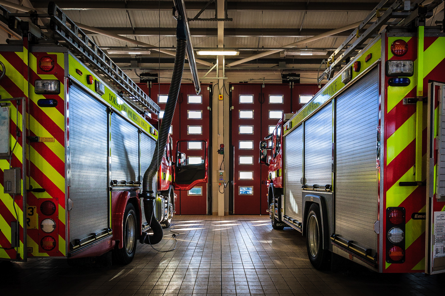 Picture of the appliance Bay at Dorchester Fire Station by Rick McEvoy interior photographer