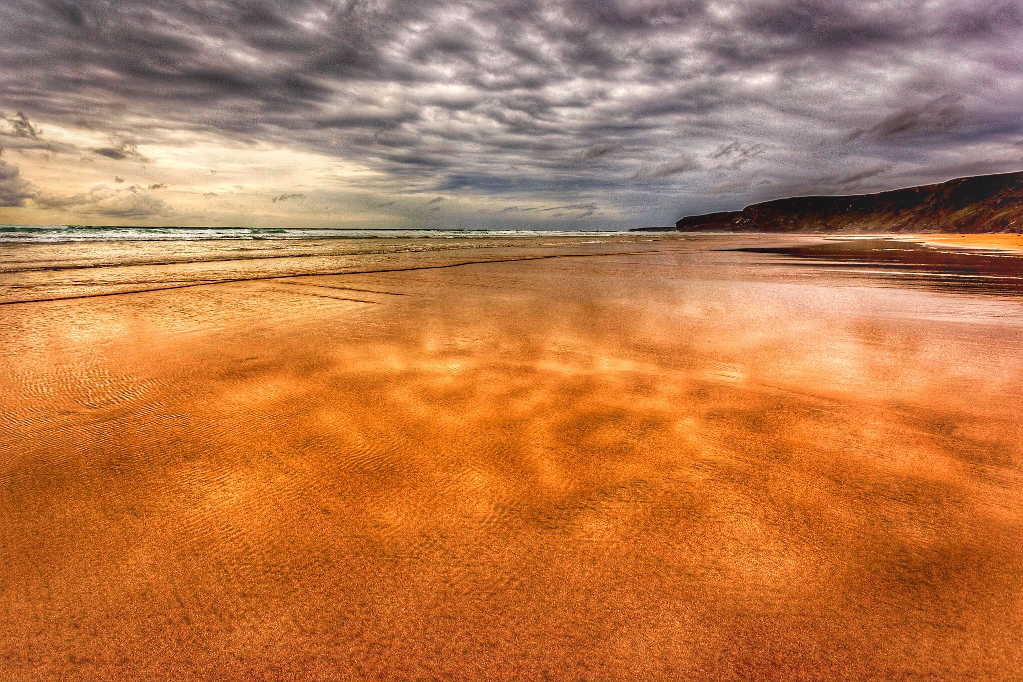 Snapseed edit of the picture of Watergate Bay beach