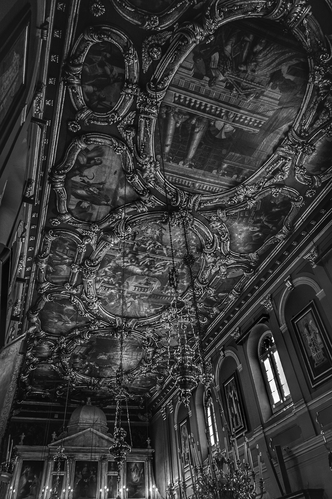 Church ceiling - black and white interior photography by Rick McEvoy
