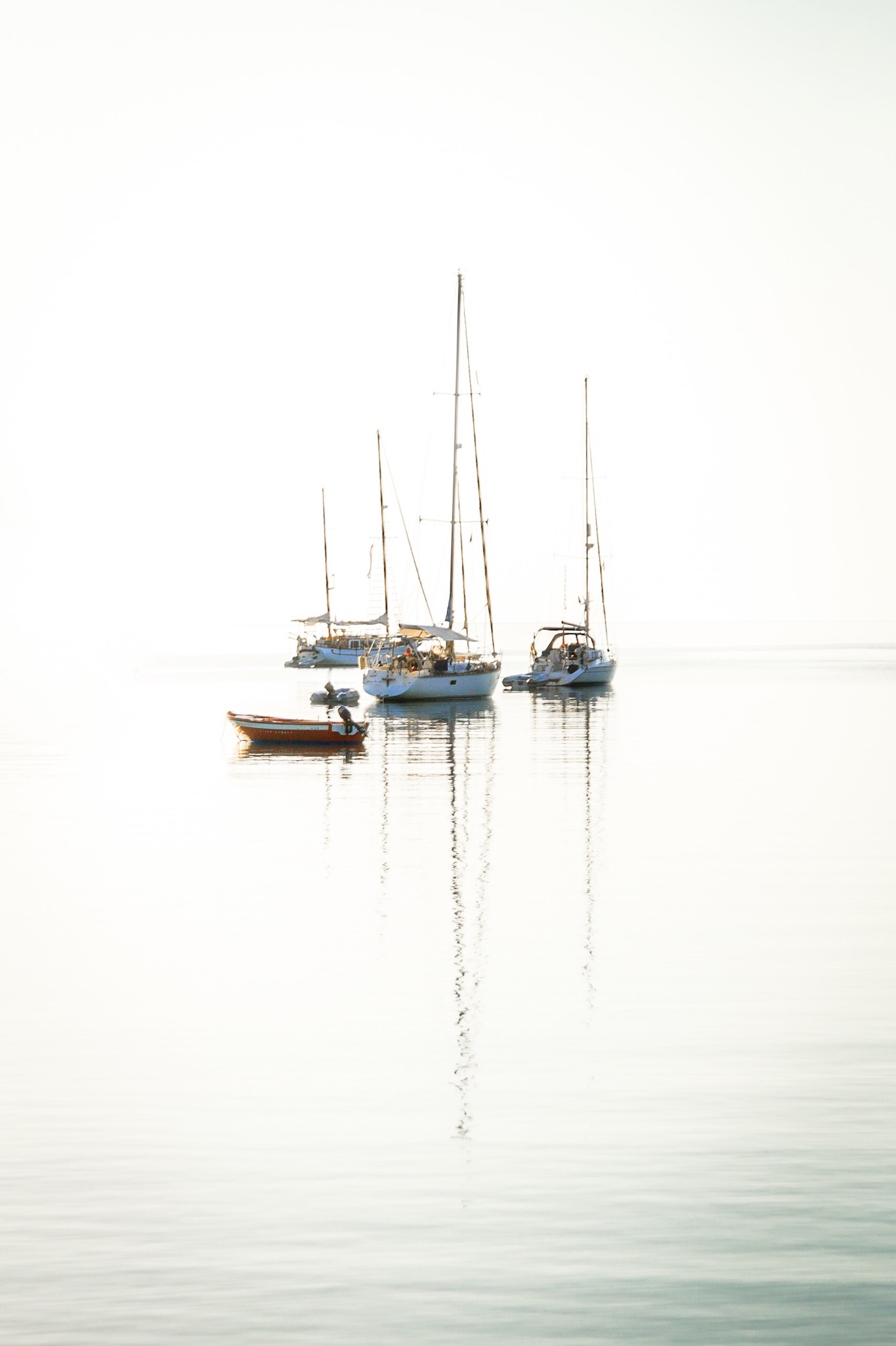 Boats in Lindos Bay by Rick McEvoy Fine Art Photographer
