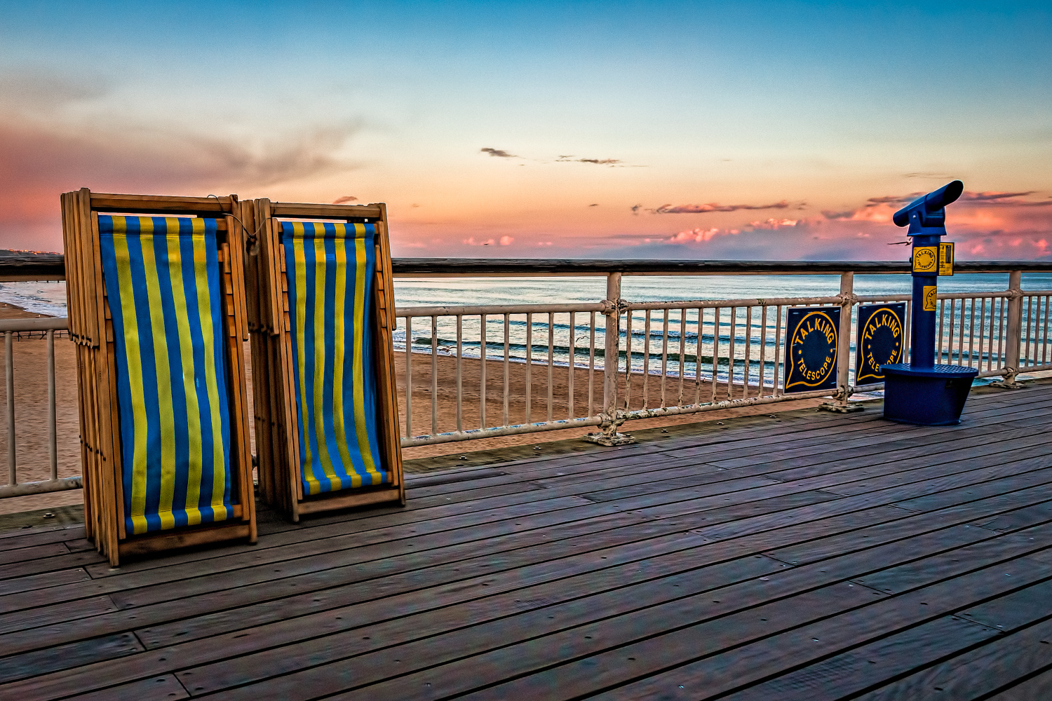 Deck chairs and a telescope on Bournemouth Pier