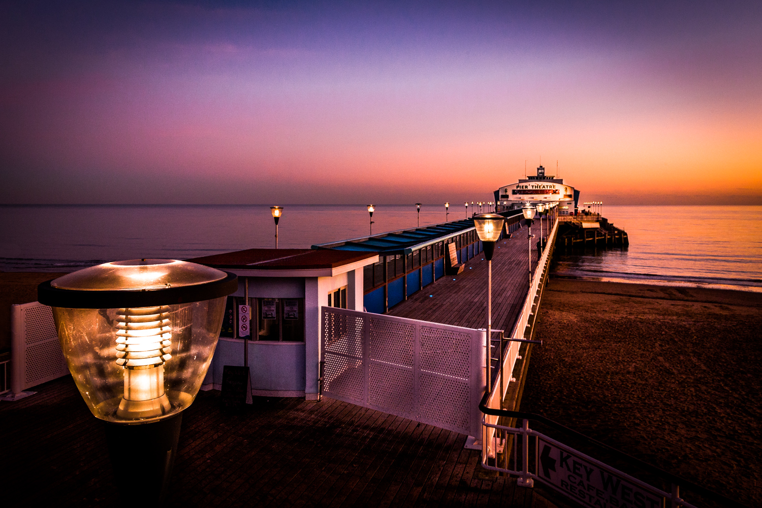Bournemouth Pier with striking twilight colours after the sun has just set