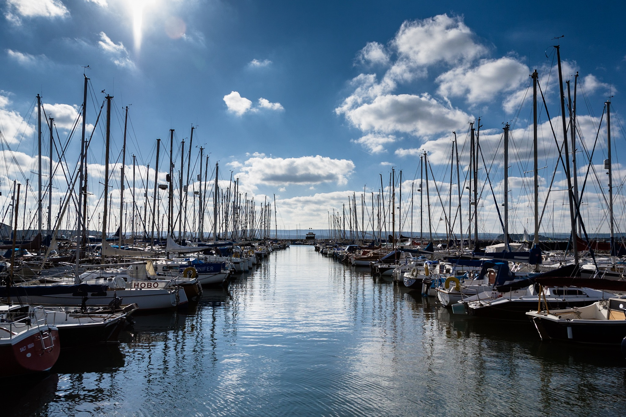 Boats at Poole Yacht Club in the sunshine