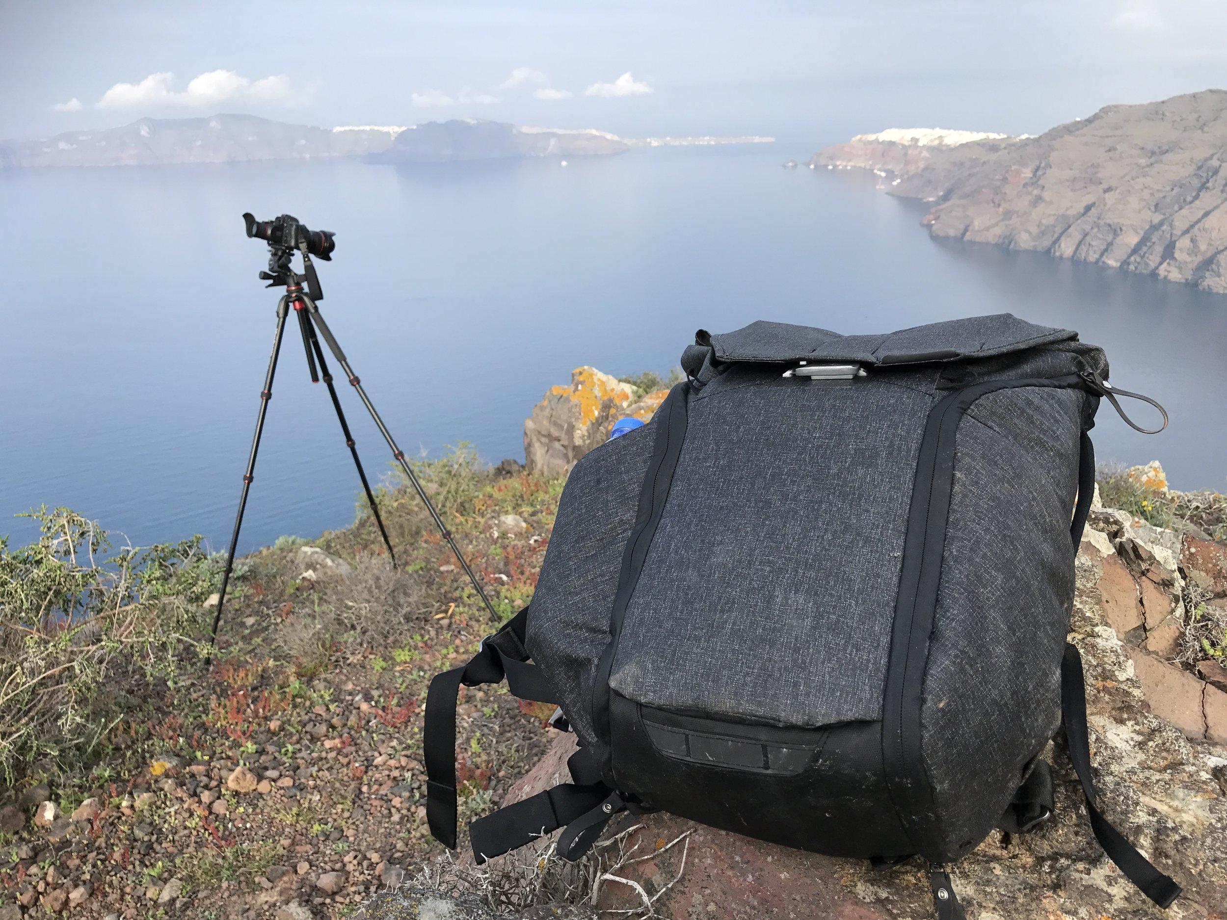 Peak Design Everyday Backpack on location in Santorini
