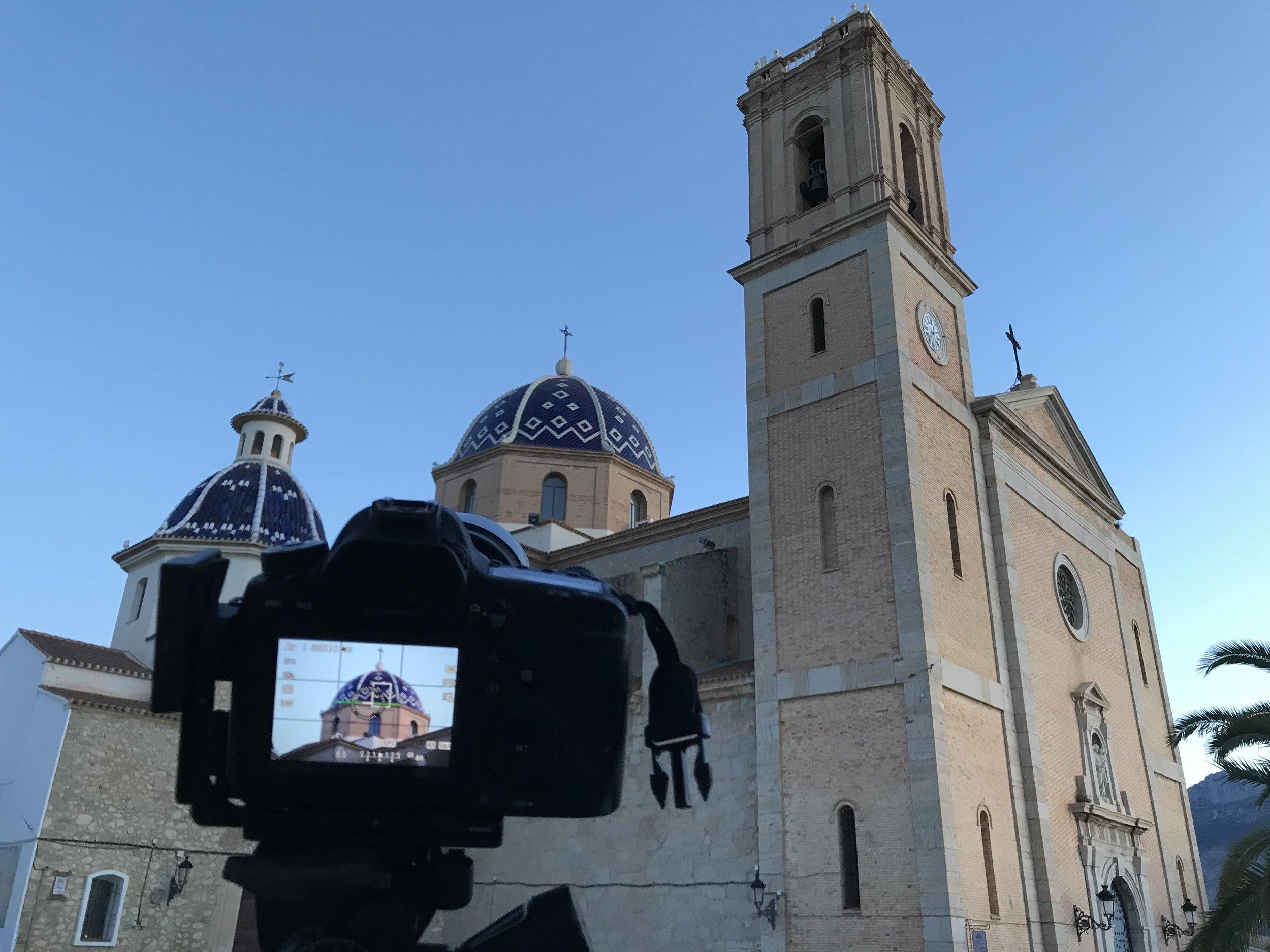 The church on the hill at sunrise, Altea, Spain