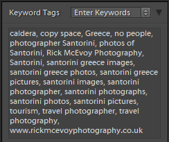 Keywords added to my Santorini photos