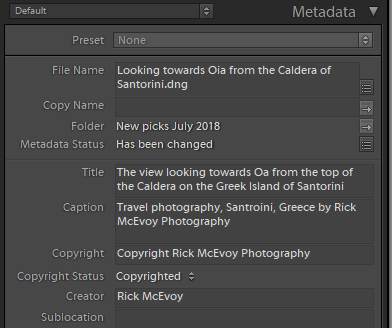 The metadata added to the photos