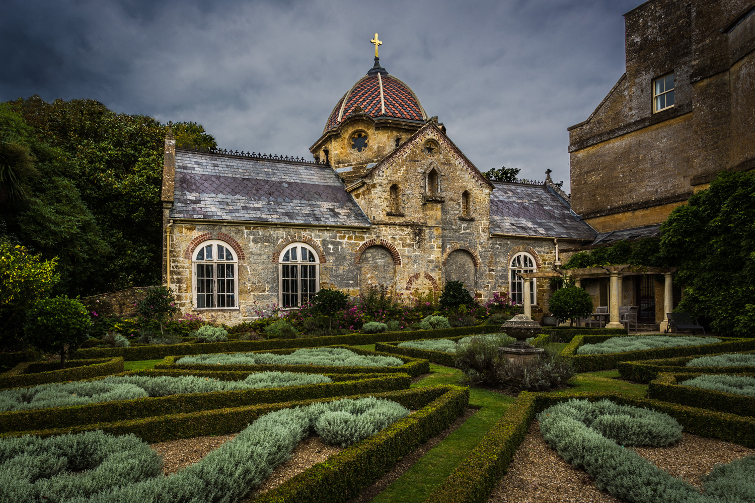 Chideock Manor Library - architectural photography in Dorset