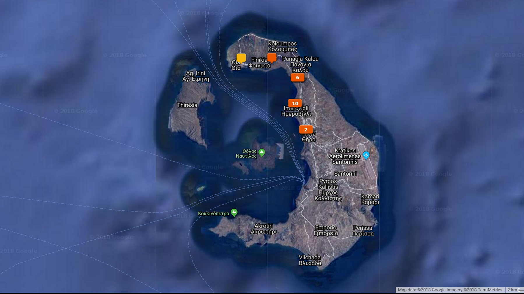 Santorini photo locations from the Lightroom Map Module