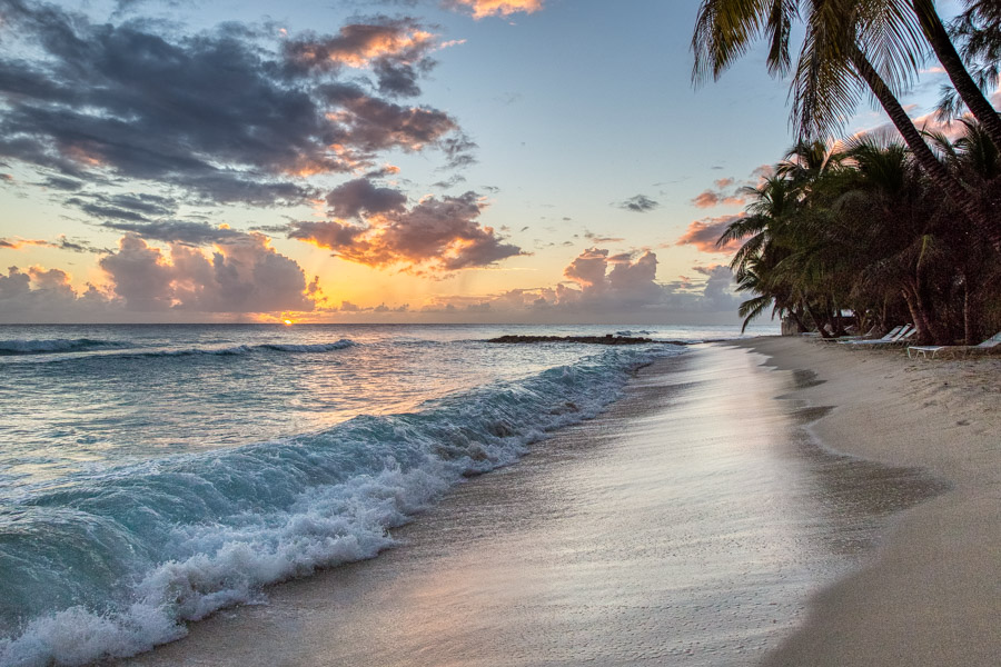 Rolling waves at sunset on Dover Beach Barbados