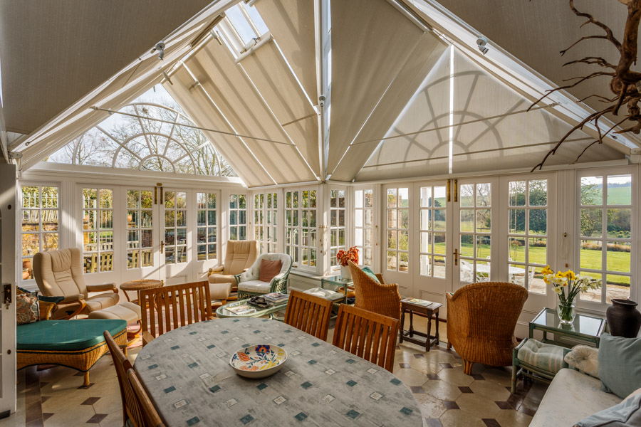 Photo of the interior of a conservatory in a Dorset country hous