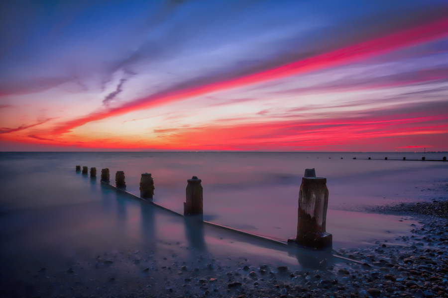 Sunset colours on the beach at Bracklesham Bay