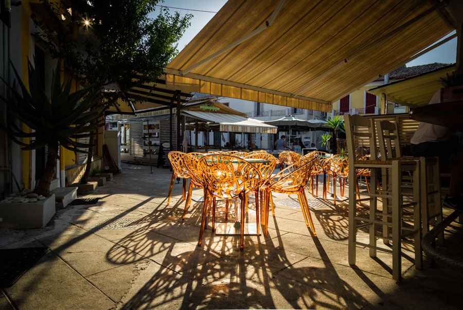 Tables at sunrise in Lakka