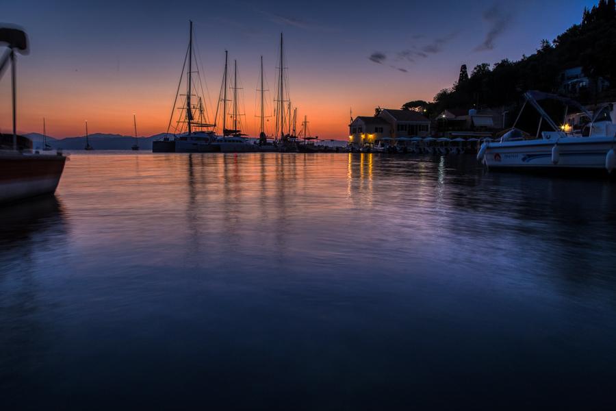 Sunrise in Loggos on the Greek Island of Paxos