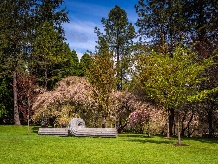Sculpture and Spring colours in the Van Dusen Botanical Gardens
