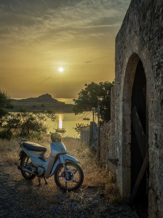 Sunrise scene in Lindos on the Greek Island of Rhodes