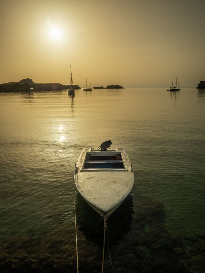 Boat at sunrise, Lindos, Rhodes