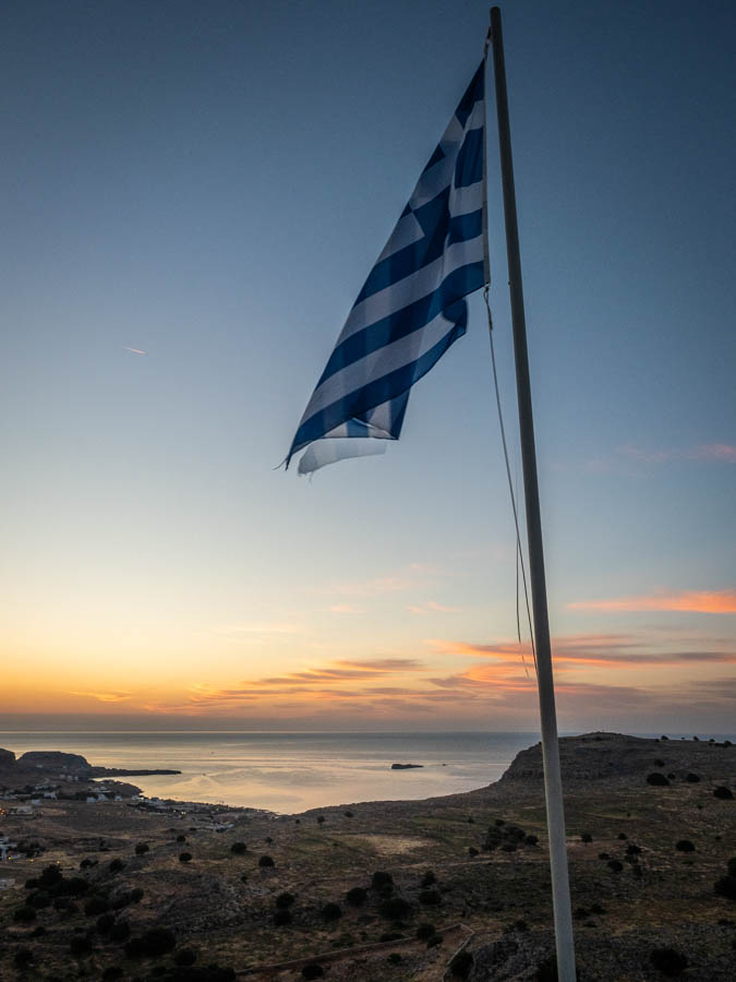 Greek Flag At Sunrise