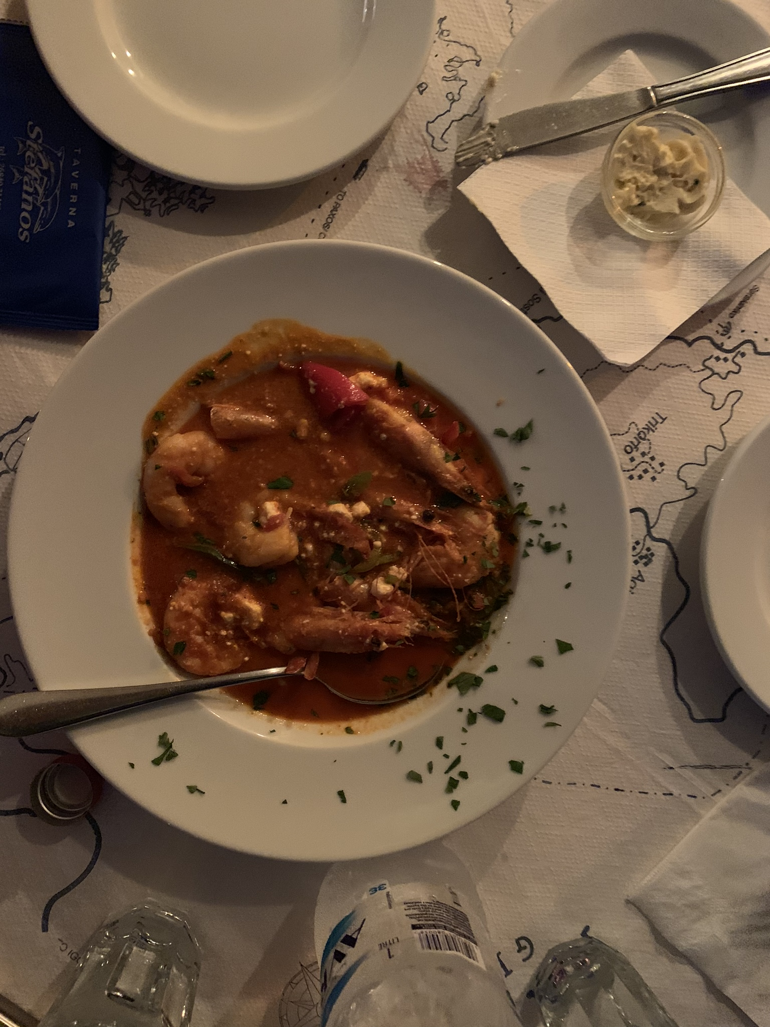Prawn Saganaki at Taverna Stefanos