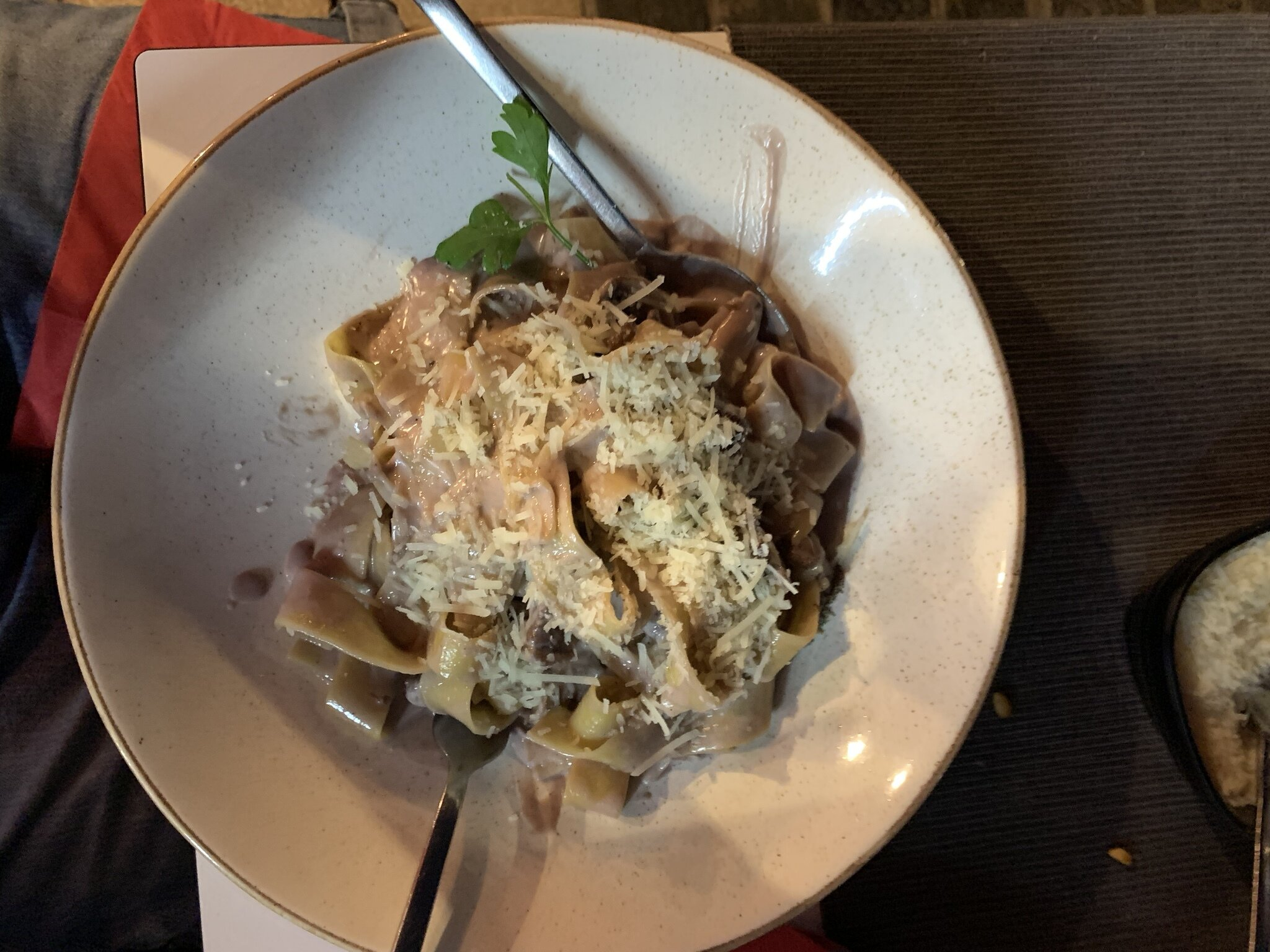 Pappardelle with beef at Delizi