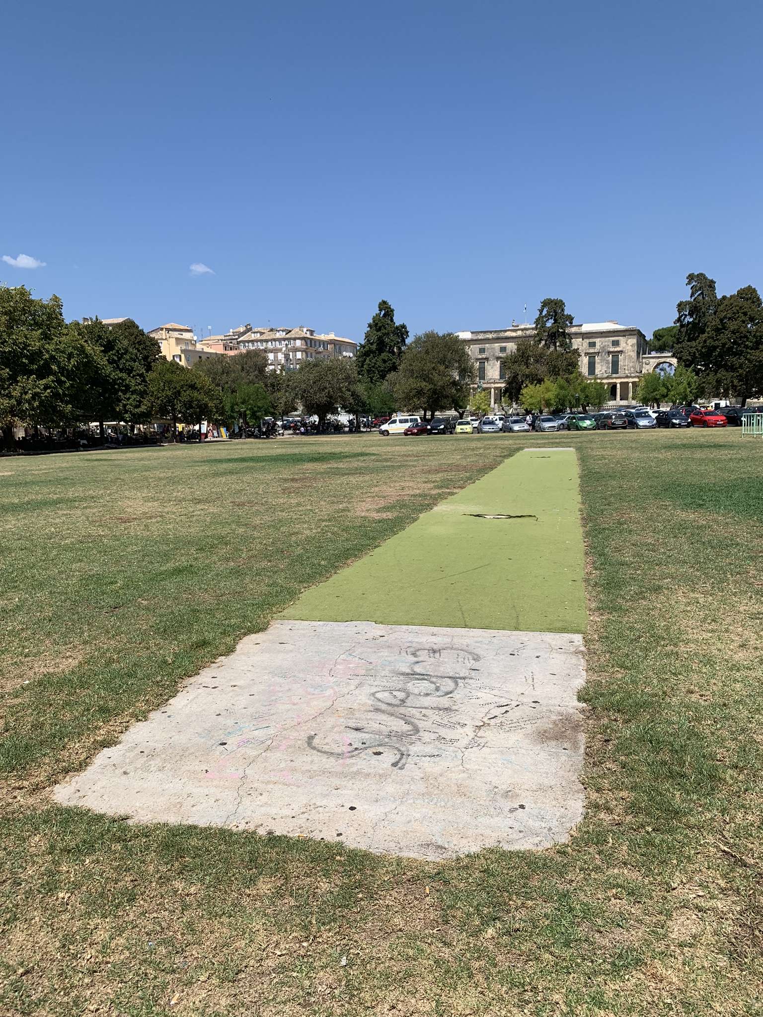 The cricket wicket in Corfu Town