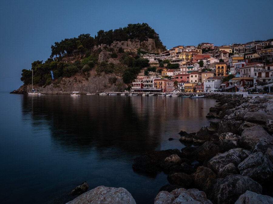 Parga Castle and Buildings before sunrise