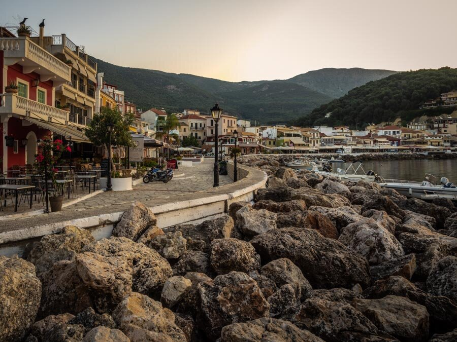 Sunrise view of Parga from Toros Traditional Greek Restaurant