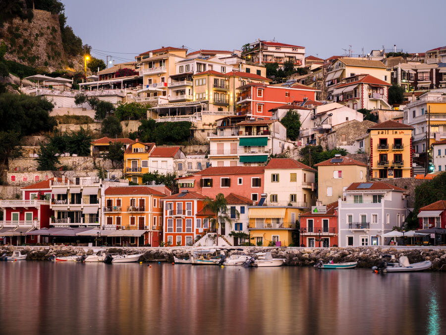 The famous buildings of Parga in morning sunshine.JPG