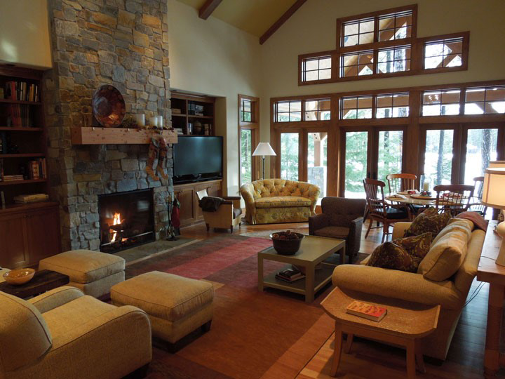 """Our client said """"make my family room feel like I'm on vacation in Colorado."""" Done and done-r."""