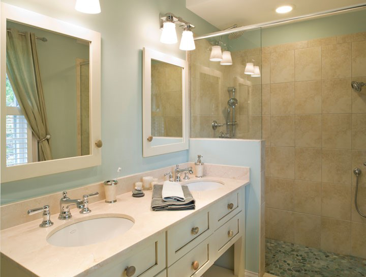 """These clients said: """"Can you turn this awkward little-used closet into a bathroom?"""" C'est voila!"""