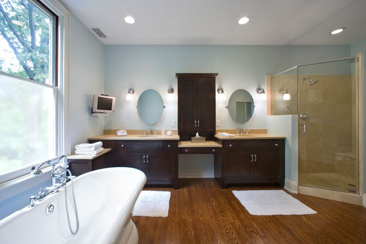 1.    This was an extra bedroom these homeowners did not need. C'est voila - a perfect master bath. Note the stack of towels - a DIGS trick is to put a countertop on top of a radiator for the perfect no muss no fuss towel warmer. A radiator is a terrible thing to waste.