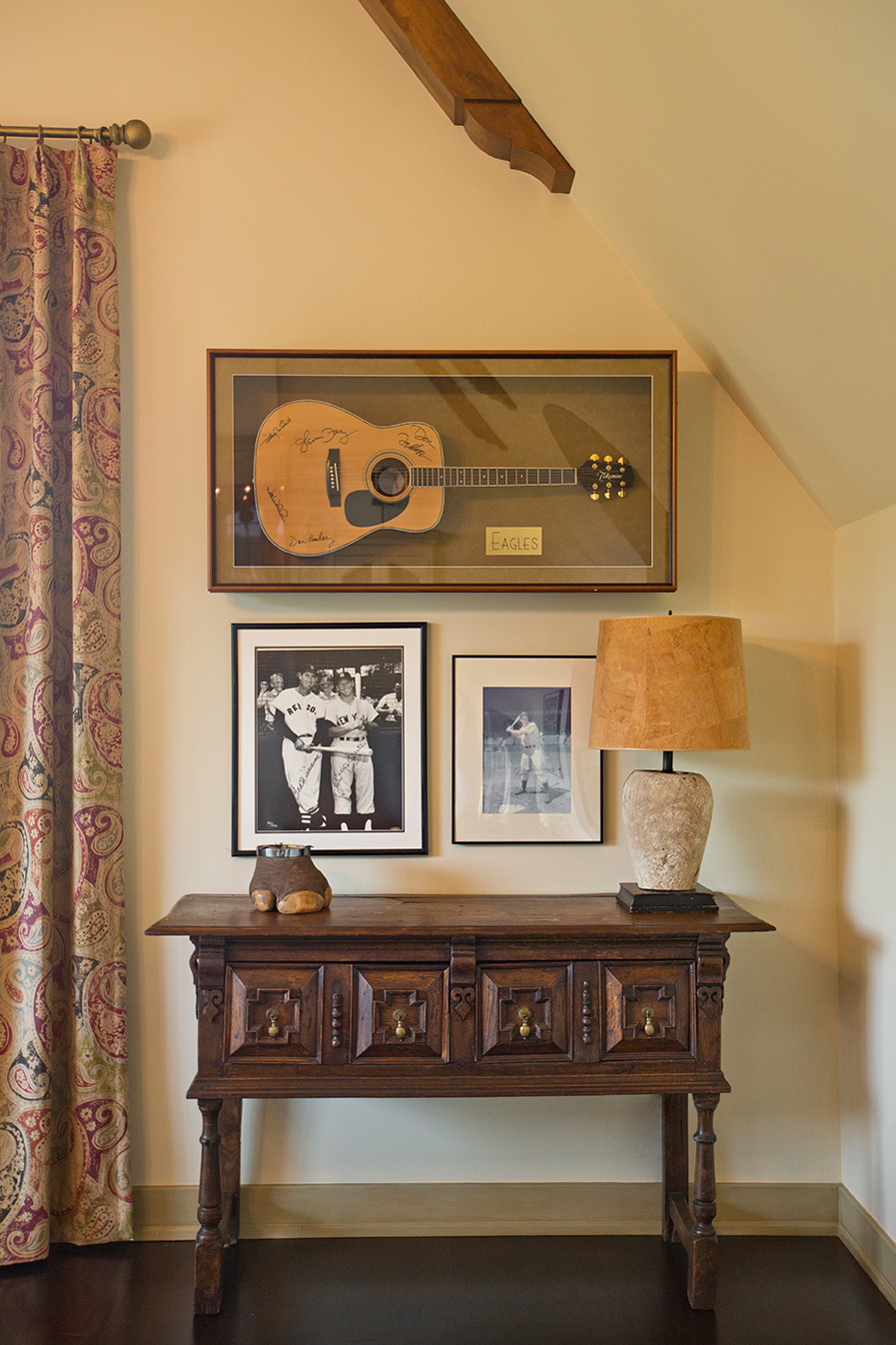 We are always delighted to incorporate any client's collection into an artful décor. #RockOn #BatterUp #HotelCalifornia