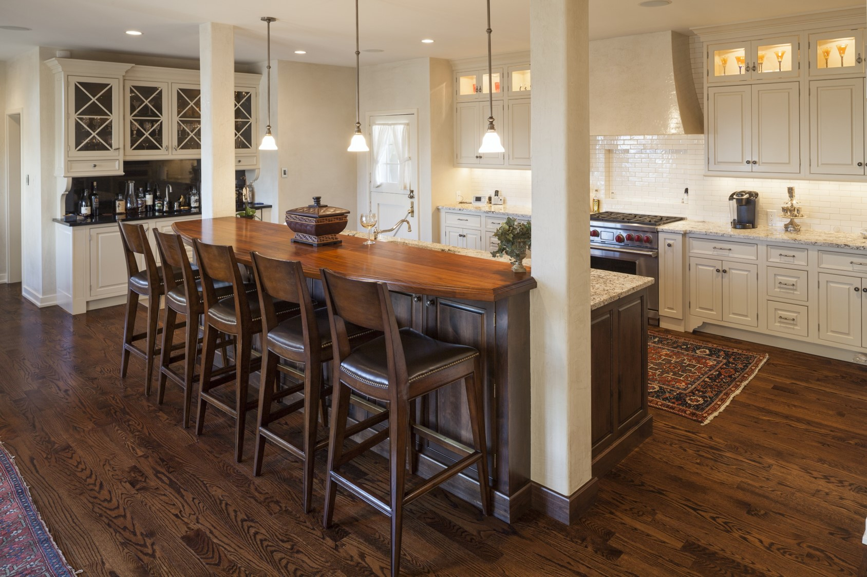 This client asked for a place where she could orchestrate breakfast for all five of her children.