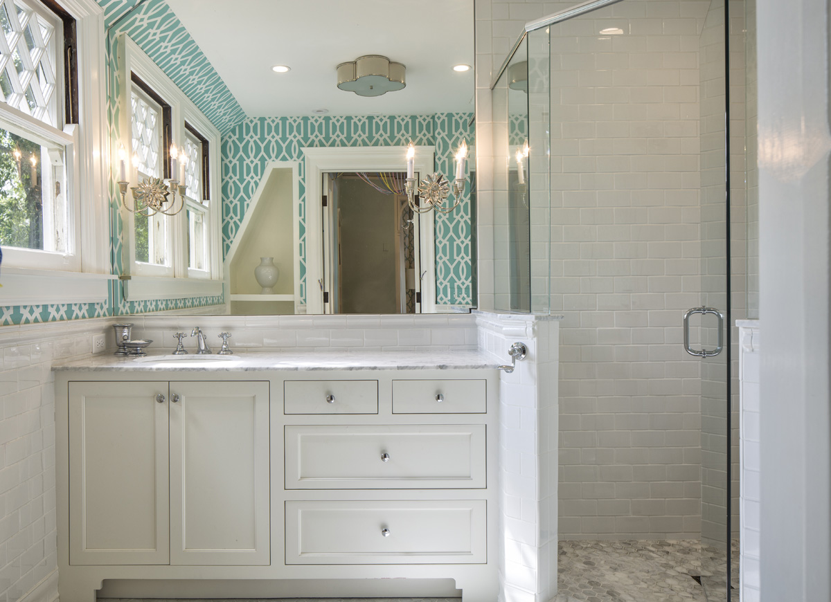 Our clients' daughter had a big say in the fit/finish selections of her bathroom. Great design is ageless and our clients' daughter has a keen eye.