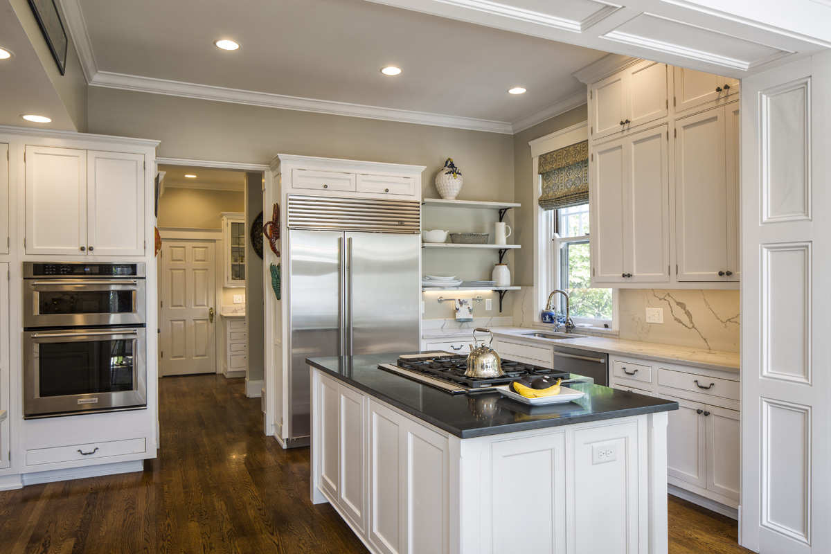 One of our favorite space-savers is double ovens where the upper is trivection, which is a combination microwave, convection oven and conventional oven.