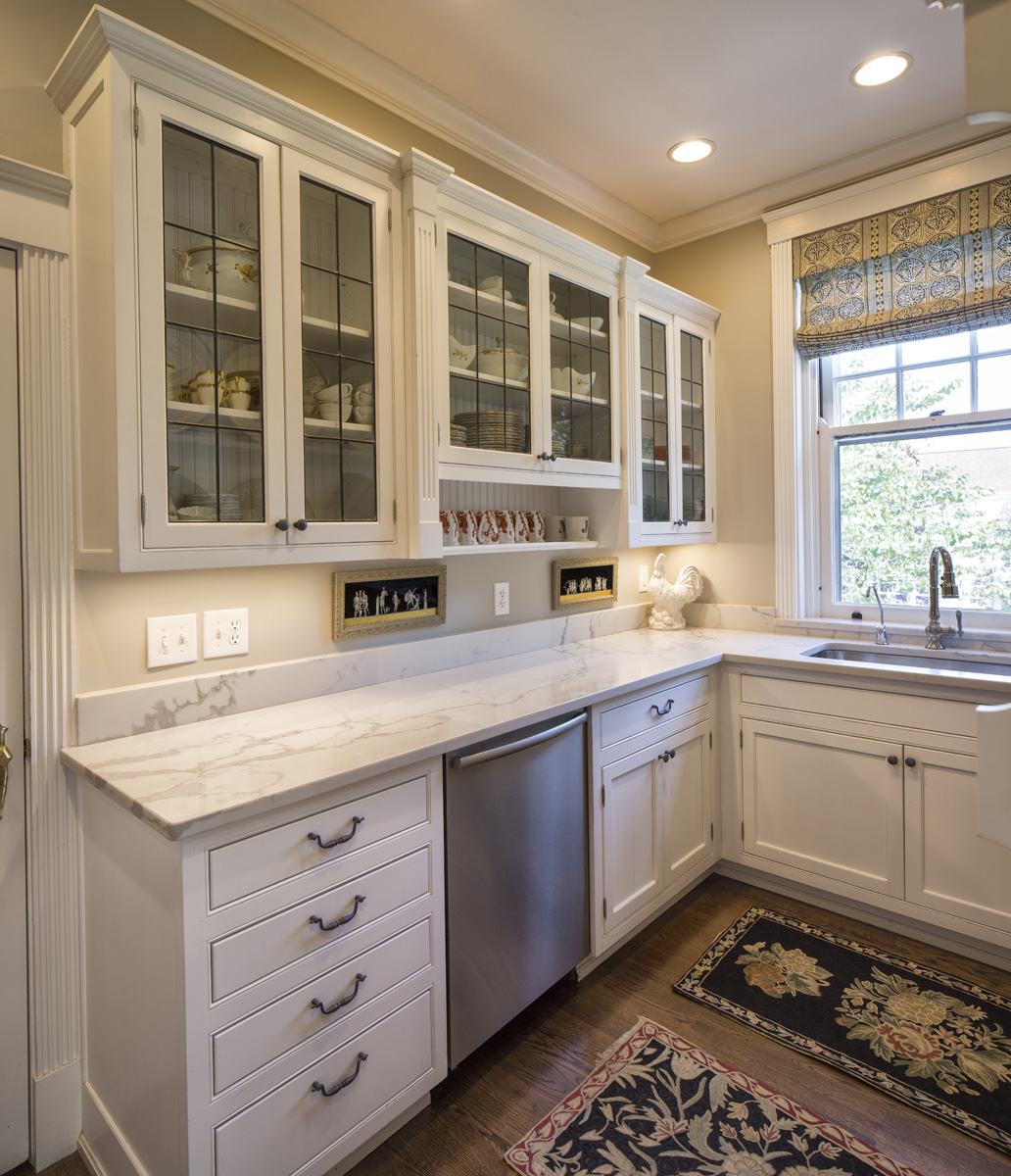 We artfully renovated this butler's pantry. The only element we couldn't provide was a butler.