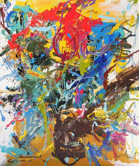 1.Kortvatting 130x110cm acrylic on canvas