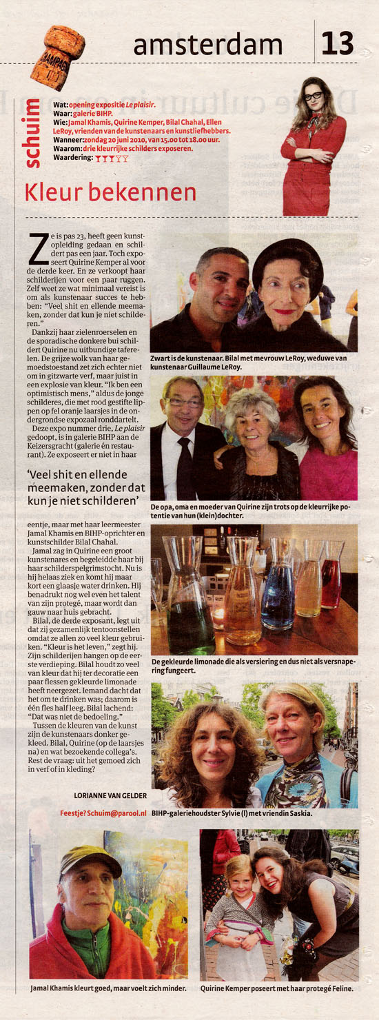 Article written by the Dutch newspaper HetParool about the BIHP exposition.