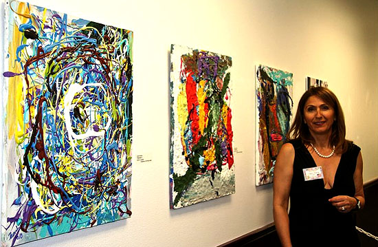 Jamal Khamis paintings at the Southern Nevada Museum for fine art with Despina Tunberg