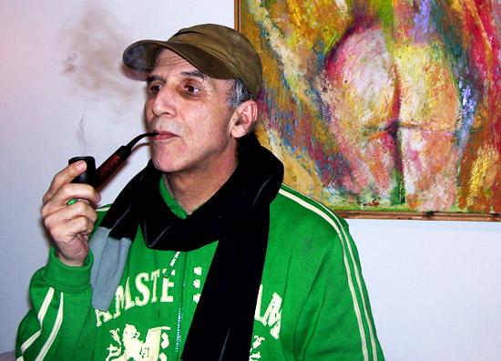 Jamal Khamis smoking his pipe