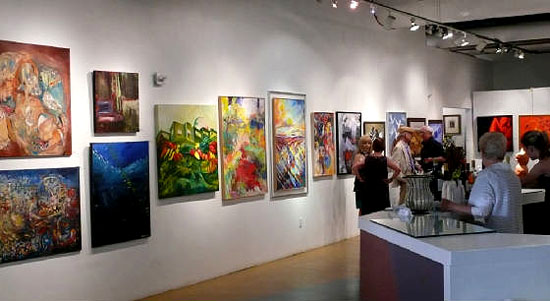 Visitors inside the Southern Nevada Museum for Fine Art International Contemporary Masters IV exhibition