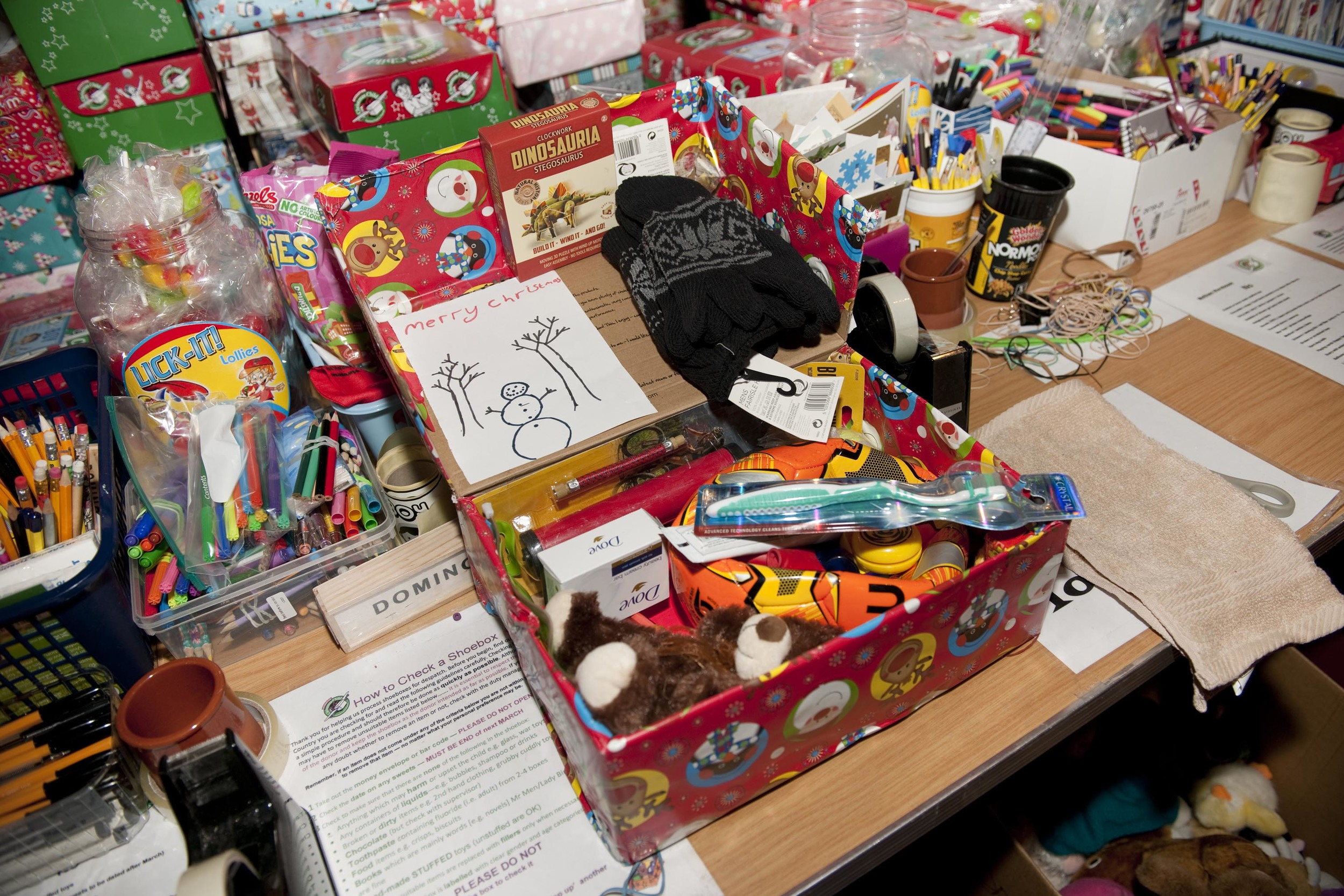 All boxes include pencils, a toothbrush and something to cuddle :-)