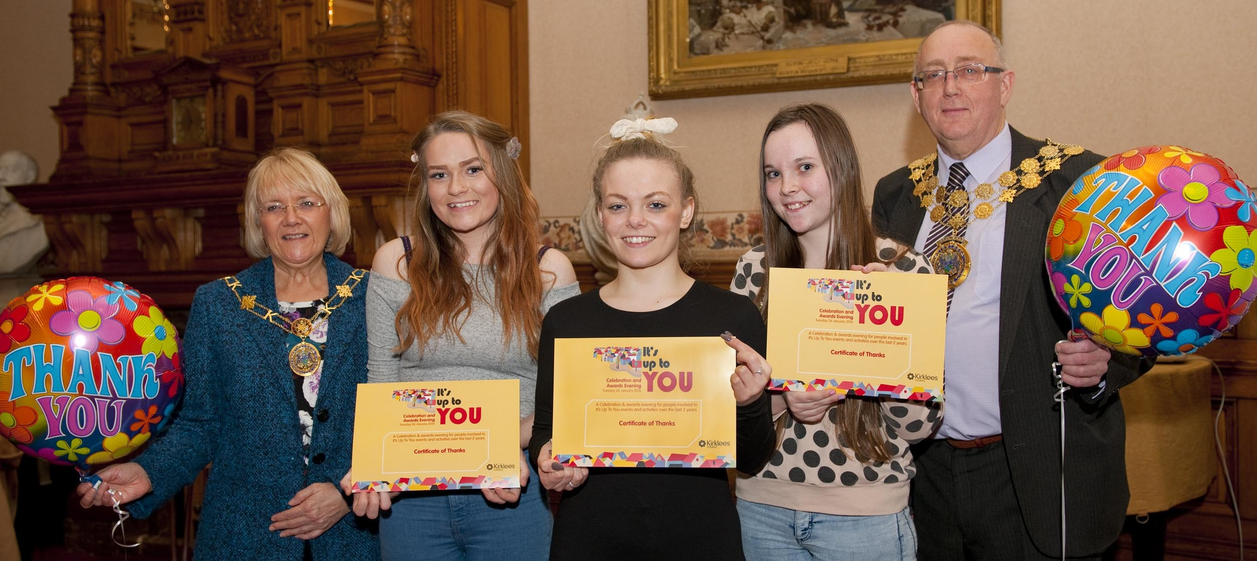 "The ""Fusion Girls"" receiving their ""It's Up to You"" awards from the Mayor. They belong to a group of eleven young people in Fieldhead, Batley, who won four lots of money to provide an over 50's Tea Party, a Trip to Doncaster Wildlife Park, Sport for 4-7 yr olds & Art for 4-7 yr olds."