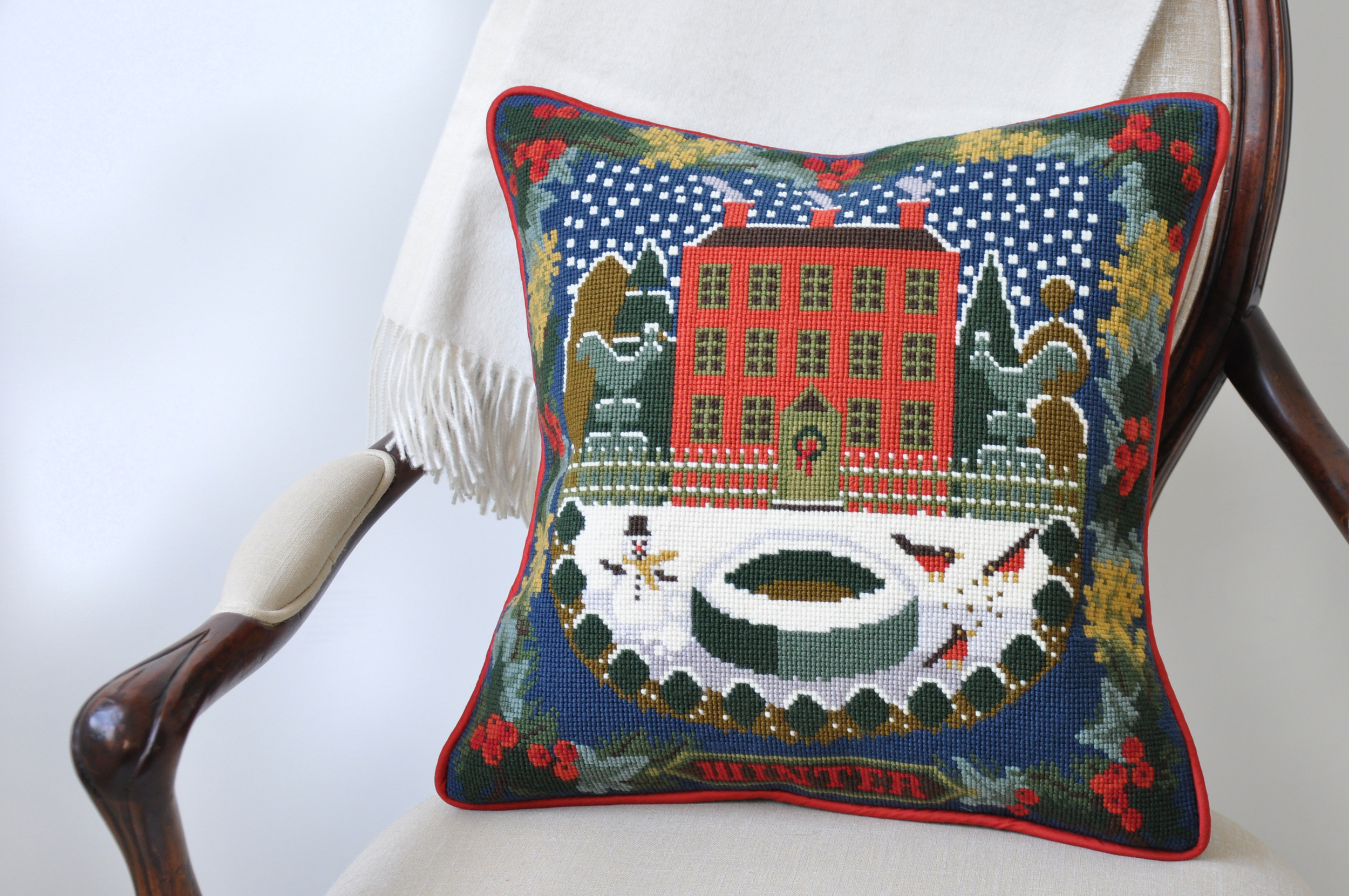 Winter Christmas needlepoint pillow