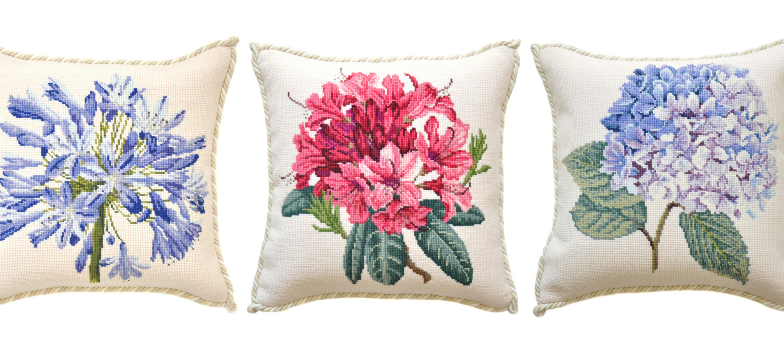 Floral blooms needlepoint pillows